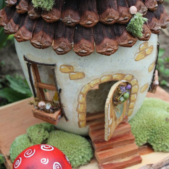 Fairy Gourd House for Whimsy or Cottage by btweentrees on Etsy, $55.00