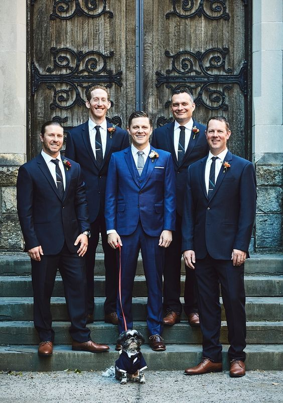 Jill and Jeffrey's Romantic 59 Guest Cobble Hill, Brooklyn, NY Wedding. Photography by Bri Johnson. The groom and his groomsmen and escort Taco the dog in his custom tuxedo. See more.... @intimateweddings.com #groomsmen