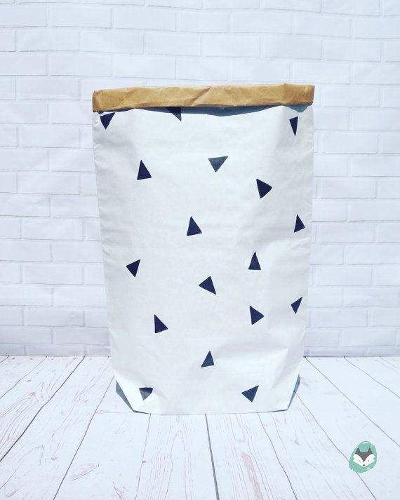 DRIEHOEK * Home decor, * Scandinavische kraft papieren zak * opslag speelgoed * zak * speelgoed mand * kinderen kamer * paperbag * zwart-wit Decor *