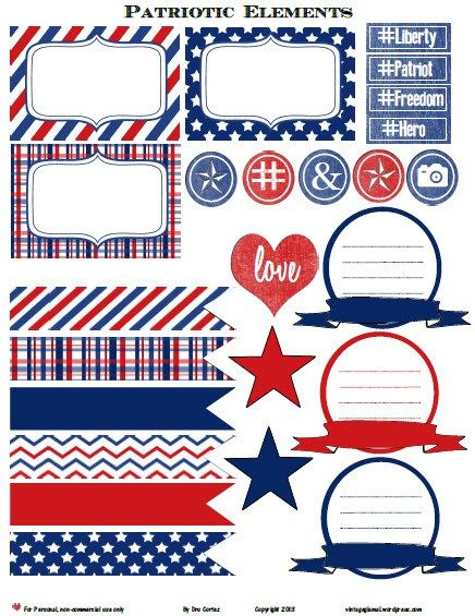 Free Printable Download – Patriotic Journaling Elements