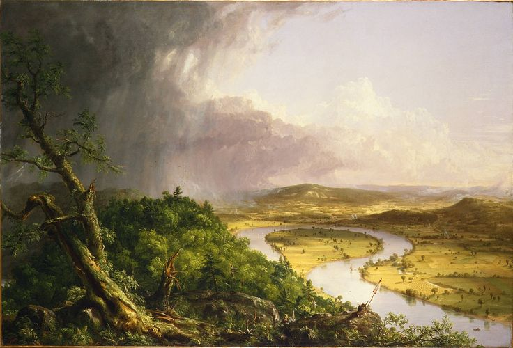 """ROMANTICISM~ THOMAS COLE, The Oxbow (View from Mount Holyoke, Northampton, Massachusetts, after a Thunderstorm), 1836. Oil on canvas, 4' 3 1/2"""" x 6' 4"""". Metropolitan Museum of Art, New York (gift of Mrs. Russell Sage, 1908)."""