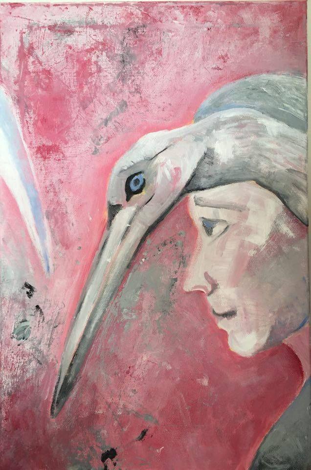 #man #bird #acrilyc #painting #art Muž s ptákem Akryl na plátně. 60x40.
