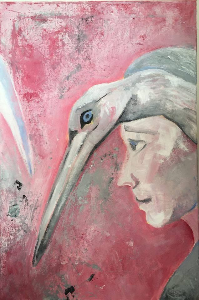 Muž s ptákem Akryl na plátně. 60x40.