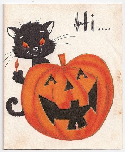 713 best halloween images on pinterest halloween decorations vintage halloween greeting card with black cat laughing jack o lantern m4hsunfo