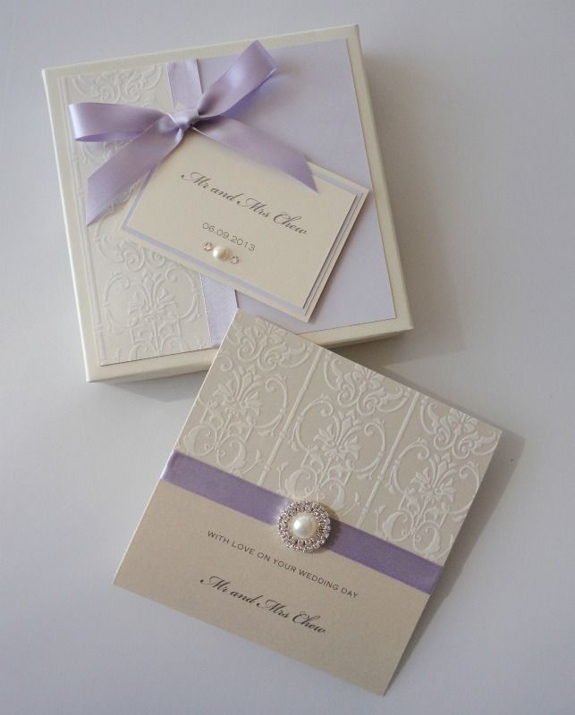 Lilac & Damask Wedding Card
