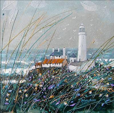 """Stormy Sea at St. Mary's Light"" - by Deborah Phillips ~ Scottish Artist"