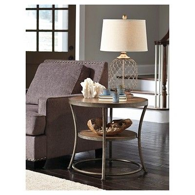 Nartina Round End Table Light Brown - Signature Design by Ashley, Desert Tan