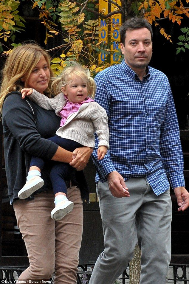 Family: Jimmy Fallon and wife Nancy Juvonen were seen yesterday as questioned surfaced ove...