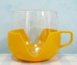 Retro theeglas plastic houder geel - jaren 70