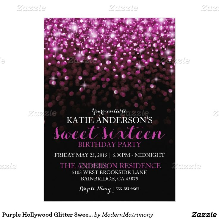 13 best purple sweet sixteen invitations images on pinterest purple hollywood glitter sweet sixteen party 5x7 paper invitation card by another zazzle designer stopboris Image collections