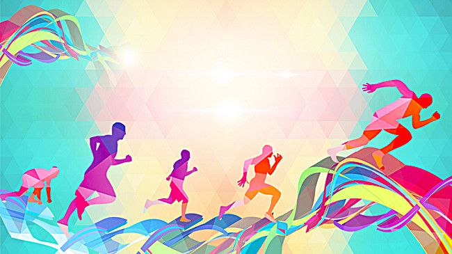 Sports Design Wallpaper Hd: Colorful Silhouette Figures Running Background