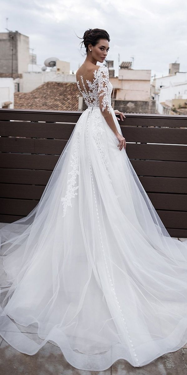 top wedding dresses a line with illusion sleeves lace noranaviano sposa