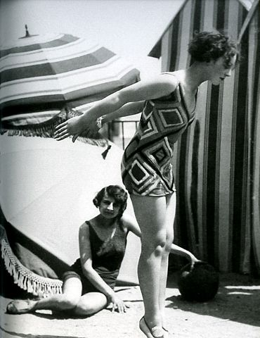 """Model wearing swimsuit designed by Sonia Delaunay, 1929, photo by Luigi Diaz for Presse Paris, in """"Color Moves: The Art and Fashion of Sonia Delaunay,"""" 2011, at the Cooper-Hewitt, National Design Museum"""