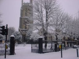 Leytonstone - St John's Church in the snow