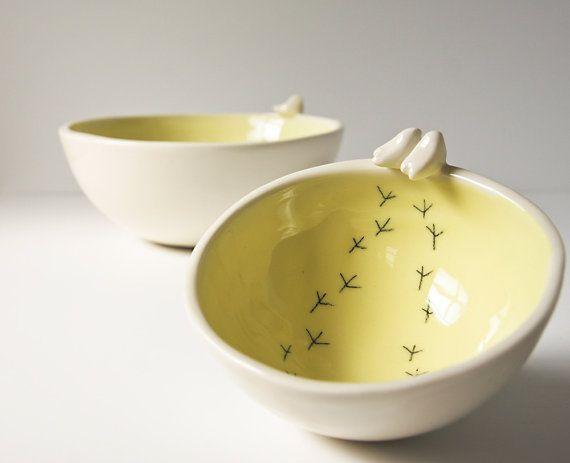 modern serving bowls. porcelain bird bowl. white and by karoArt