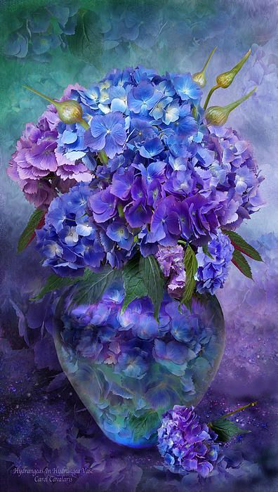 Hydrangeas In Hydrangea Vase Mixed Media by Carol Cavalaris - Hydrangeas In Hydrangea Vase Fine Art Prints and Posters for Sale