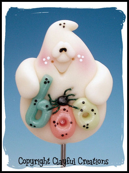 *POLYMER CLAY ~ Becky's Polymer Clay - Glow in the Dark Ghost with Spider and Boo CAKE TESTER MAGNET