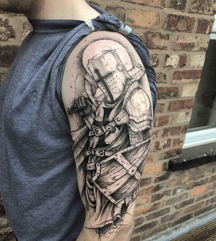 shoulder tattoo knight