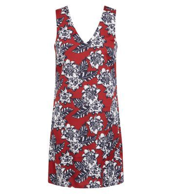 Tal Rust Crepe Floral Print Bar Back Tunic Dress