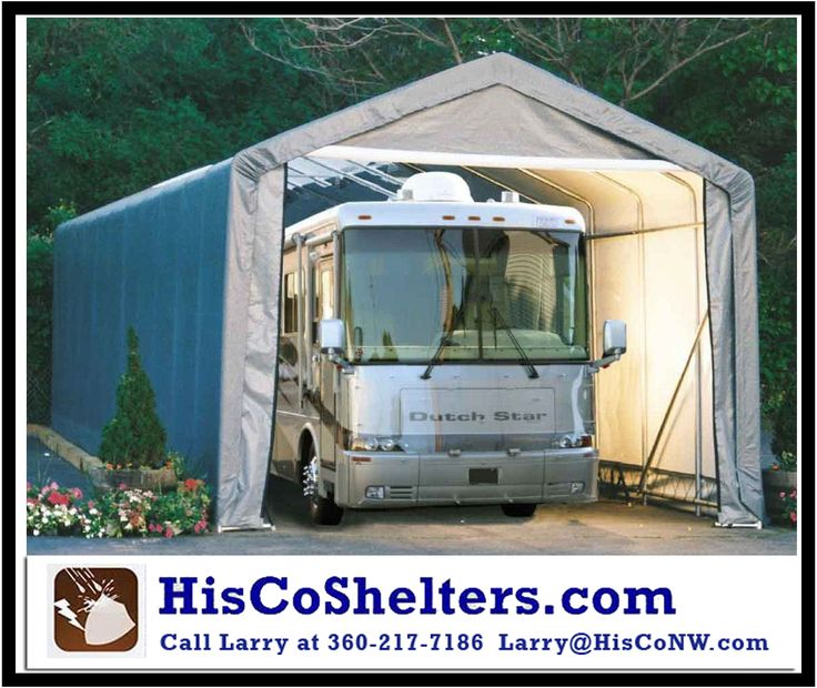 Shelter Logic Portable RV Garage Shelter Kit ** 15' Wide and 12' or 16' High Peak Roof **Heavy Duty - Fully Enclosed Double Zippered Front & Back Door Panels ****We also offer FREE shipping and Ebook **Check out www.hiscoshelters.com or Call Larry at 360-217-7186 / Email: Larry@Hisconw.com  #garage #cargarage #shelter #portablegarage