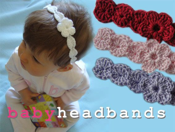 Baby Crochet Headband with Flower. See, these i would make and sell. They aren't huge on the kids head