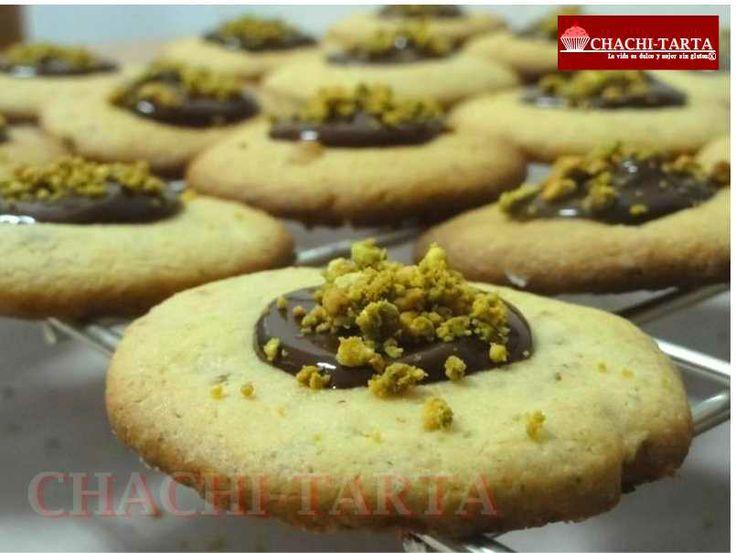 Galletas de pistacho con chocolate (sin gluten)