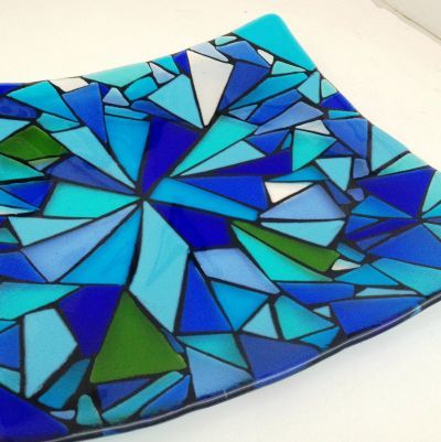 Pacific art glass design of gorgeous blues opaque and transparent and a touch of light green created by Jenie Yolland