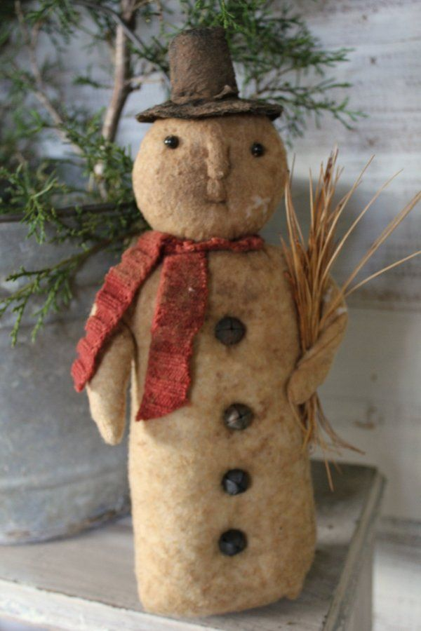 Vintage Snowman  Measuring 12'' - this snowman doll is made from aged batting. A sweet vintage style.  31.95 ( 25.00 + 6.95 shipping )