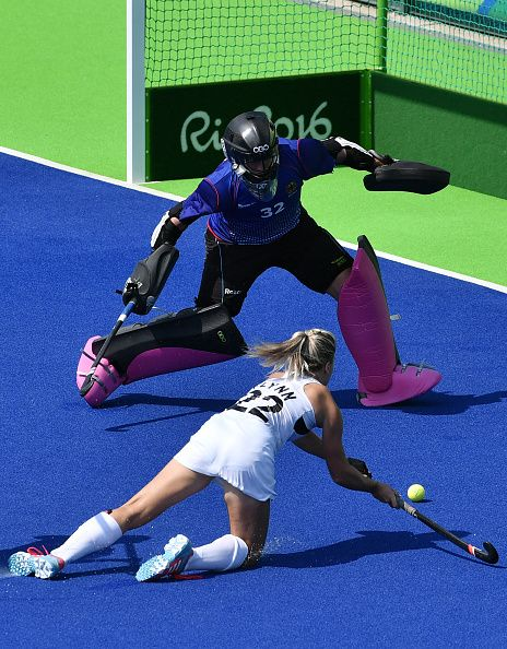 New Zealand's Gemma Flynn shoots in front of Germany's goalkeeper Kristina…