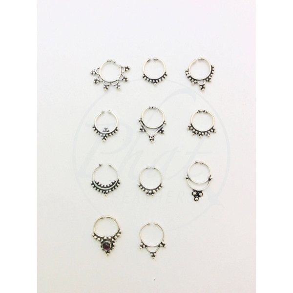 septum ring, nose ring, tribal jewellery, tribal jewelry, silver... ($13) ❤ liked on Polyvore featuring jewelry, silver tribal jewellery, body jewellery, silver jewellery, tribal jewelry and silver body jewelry