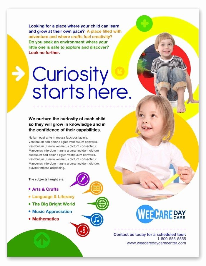 Child Care Flyers Template Free Mosman Template Library Education Poster Design Pamphlet Design School Advertising
