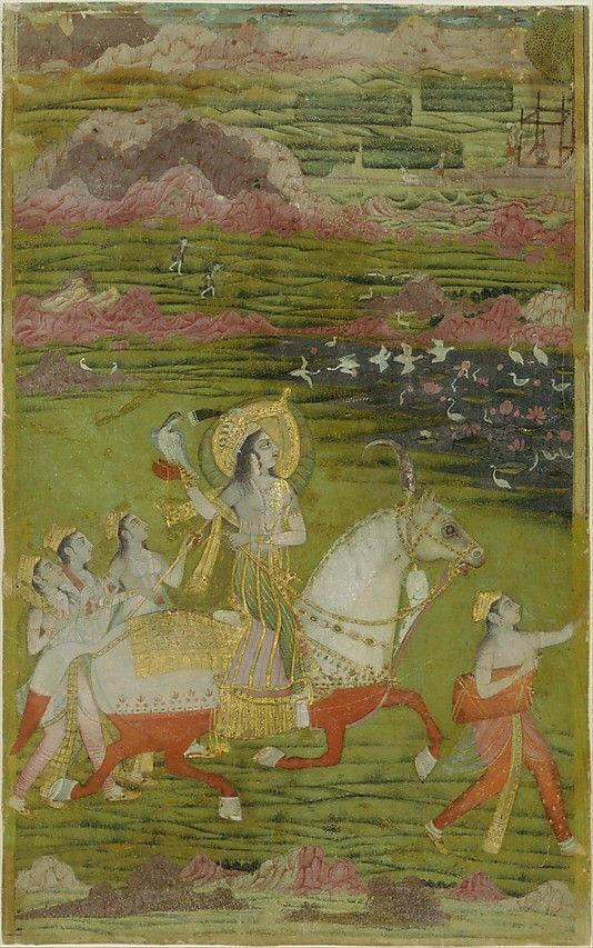 """Chand Bibi hawking with attendants in a landscape"", ca. 1700, India, Deccan, source: The Metropolitan Museum of Art"