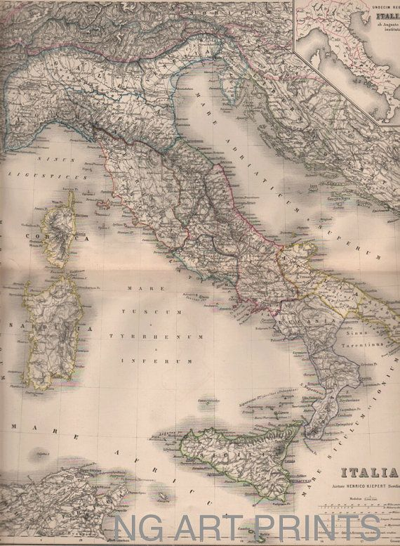 Italy Map 1800s Antique Map Italia Hand Colored Map by NGArtPrints, $45.00