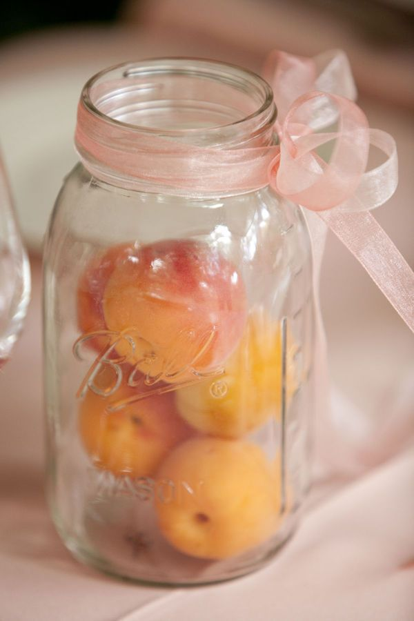 mason jars and peaches. need i say more?August Wedding, Jars Centerpieces, Glow Sticks, Shower Centerpieces, Wedding Blog, Bridal Shower, White Dresses, Mason Jars, Easy Decor