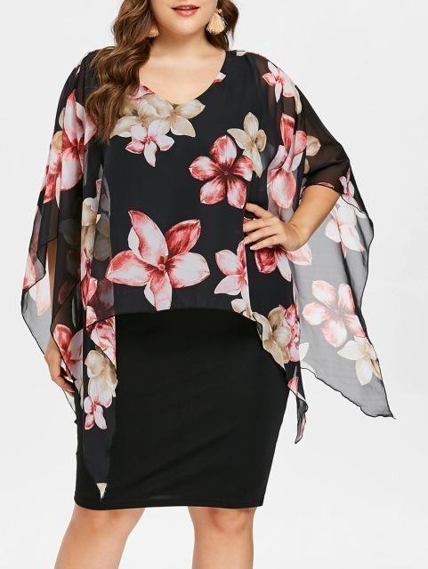 Floral Overlay Capelet Knee Length Plus Size Dress L-5XL  b22ea5b8d2a5