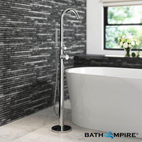 Freestanding Thermostatic Bath Mixer Tap with Hand Held Shower Head   Bath Tap - BathEmpire