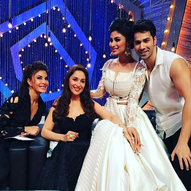 Had a great time on the set of #soyouthinkyoucandance. So much talent. Was a lot of fun with these three pretty ladies @imouniroy @jacquelinef143 #madhuridixit and yeah bosco and Terrance were also there but I need to get that picture