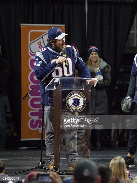 New England Patriots center David Andrews addresses the crowd during the Patriots Victory Rally at the Dunkin Donuts Center on February 7 in...