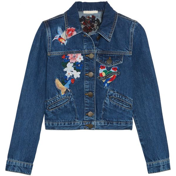 Maje Cropped embroidered denim jacket ($260) ❤ liked on Polyvore featuring outerwear, jackets, cropped denim jacket, blue jackets, slim jacket, slim denim jacket and slim fit denim jacket