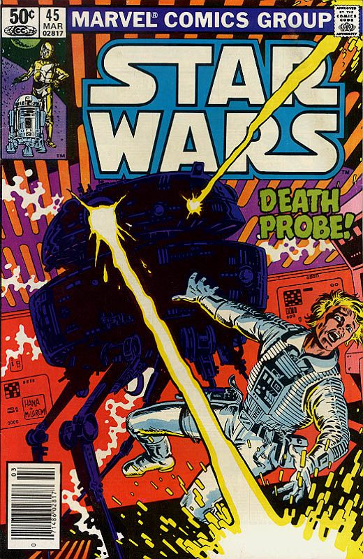 Star Wars 45: Death Probe is the forty-fifth issue in the Marvel Star Wars series of comics. Imperial Admiral Damon Krell sends a prototype Infiltrator probe droid on a direct course for a damaged blockade runner. The Probe smashes through the ship's hull and begins slaughtering the entire crew. It attaches itself to the main power grid of the ship and takes command of all of the vessel's automated functions.