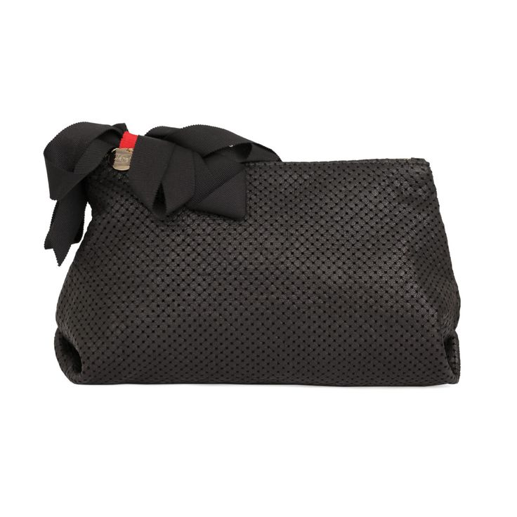 A playful twist on our classic clutch body, the Black Cube Petite Mimi  pouch is