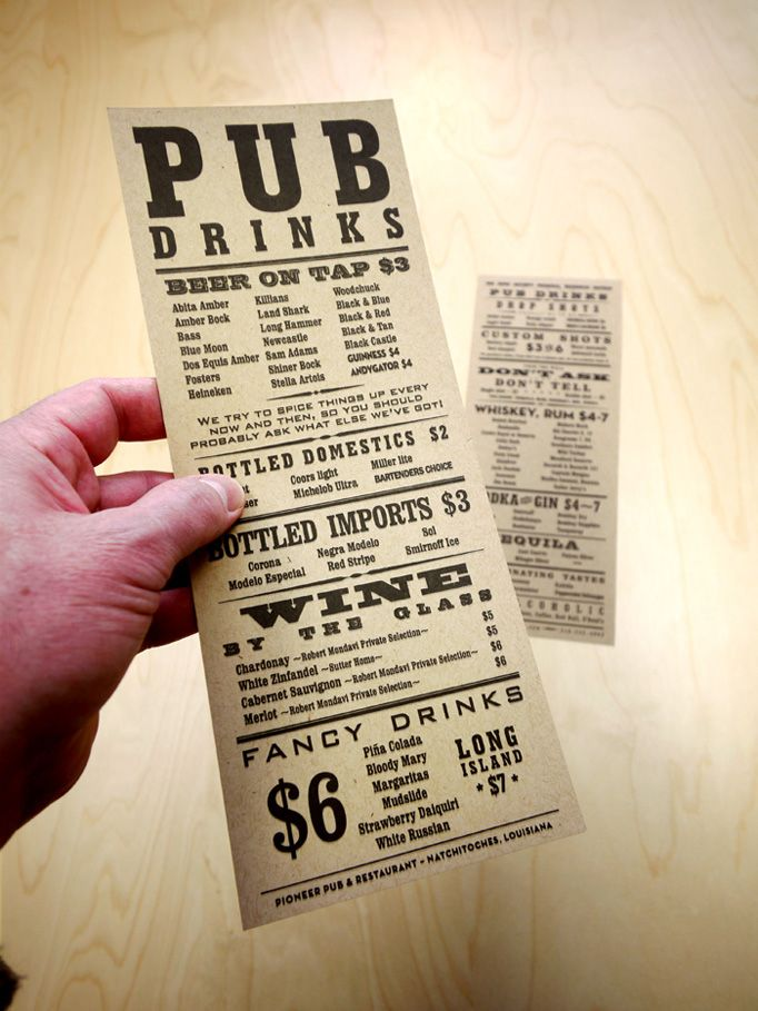"From menu design blog Art of the Menu: ""Complemented by Wanted-poster typography, Pioneer Pub's menu copy is genuinely amusing. Unpretentious and fun, the restaurant welcomes both locals and visitors alike to pleasing entertainments and copious libations."" #menu #typography"