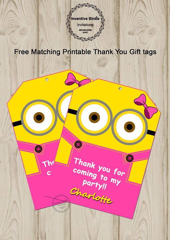 Girl Minion Invitation | Minion Girl Invitation | Minions Invitation | Minion Girl | Minion Girl Party| Minion Girl | Get Free Thank you Tag  Free Minion Invitation, Minion Free thank you tag