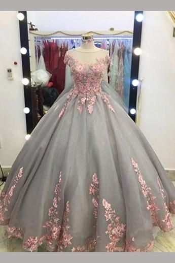 ef4452095d9 Gray Ball Gown Cap Sleeves Floor-length Pink Lace Appliques Prom Dress