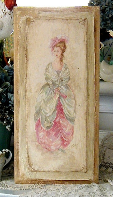 My original painting on an antique wooden panel.