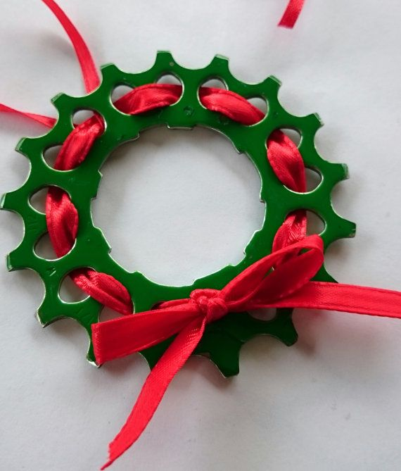 Recycled Bicycle Cog Wreath, Ornament.