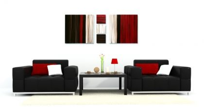 Chocolate Brown, Red and Cream Canvas Art Paintings by Rob Haigh