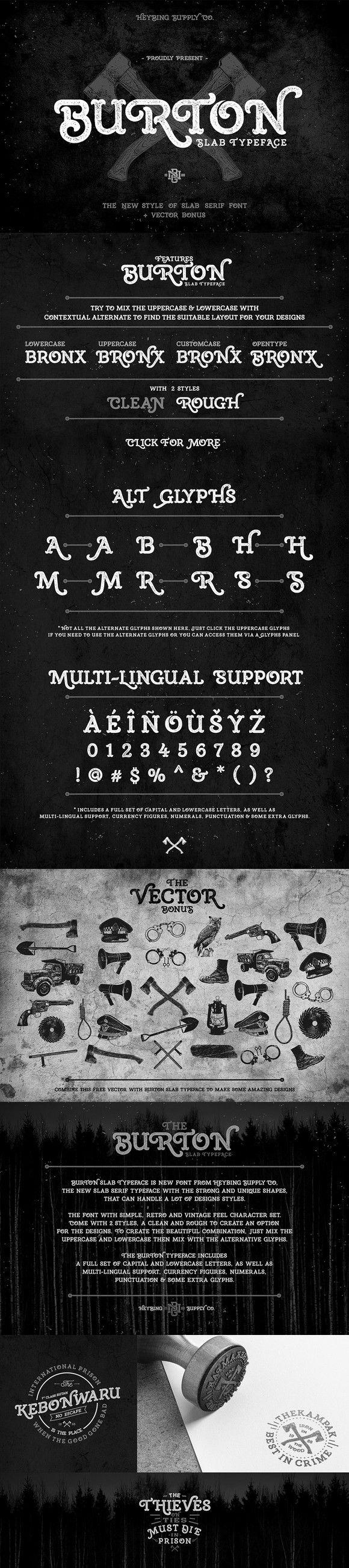 Burton Slab Typeface + Bonus. Fonts. $15.00