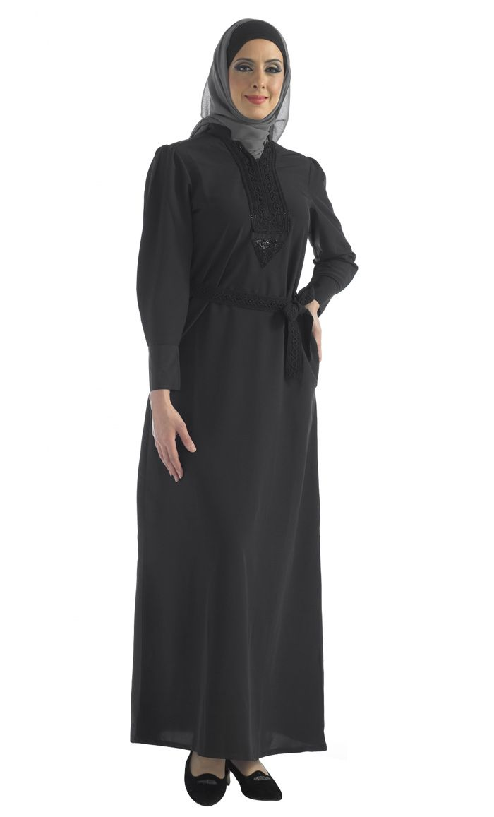 Beautiful black sequin embroidered abaya.
