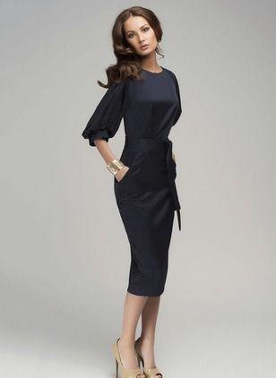 Polyester Neutre Manches 1012421/1012421 Mi-mollet Élégant Robes (1012421) @ floryday.com